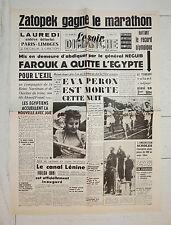 FAC-SIMILE A LA UNE JOURNAL LE SOIR 27/07 1952 MORT EVITA EVA PERON ARGENTINE
