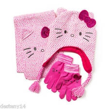 Hello Kitty Knit Scarf, Trapper Hat and Gloves Set NWT