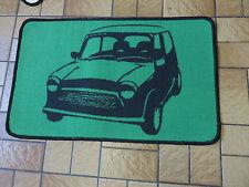 Retro Mini car short pile rug / mat non slip gel back green black brand new