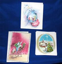 3 VTG 1950'S UNUSED EMBOSSED RELIGIOUS XMAS GREETING CARDS W ENVELOPES