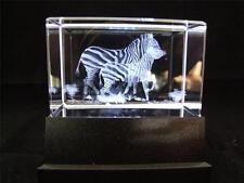 Láser de cristal de vidrio sólido bloque y Caja de Luz Blanca-dos cebras.