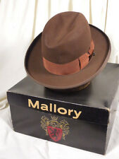Vintage Mallory 'Twelve Fifty' Classic Brownn/Rose Homburg Fedora Hat w/Box 7