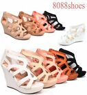 Women's Strappy Open Toe Low High Wedge Sandal Shoes 4 Colors Size 5.5 - 10 NEW