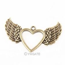 4pcs Brass Love Heart angel Wings shape Charm Penant Jerelry findings 47x30mm