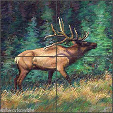 "Floor Tile Medallion Mural McDonald Elk Wildlife Animal Art 16"" x 16"" MMA008"