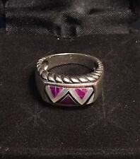 Carolyn Pollack Relios Sterling Inlay MOP Charoite Onyx Ring Size 6