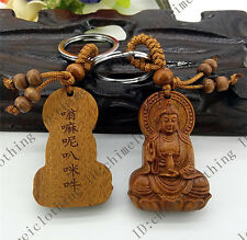 Hot! Classical Fine Carved Wooden key chain keyring (Kwan-Yin Buddha) /4411