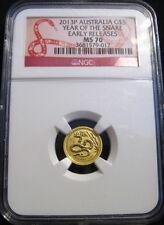 2013-P $5 AUSTRALIA Lunar GOLD SNAKE NGC MS70 ER 1/20 oz 999 Fine Gold ~~