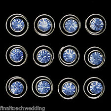 BLUE Bridal/Wedding/deb diamante silver spiral hair pins  x 12