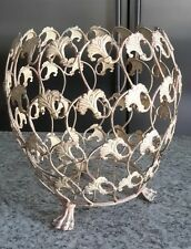 Big French Country Shabby Chic Distressed Ivory Ginkgo Leaf Footed Wire Basket