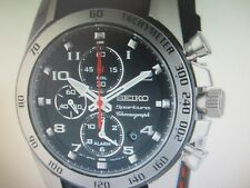 SEIKO SPORTURA MEN'S WATCH ALARM CHRONO S/S LEATHER ORIGINAL SNAE65 NEW