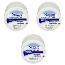 Three (3) rolls 3M Nexcare First Aid gentle paper tape Micropore 2 in x 10 yd Ea
