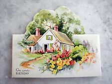 Vintage 1940s Unused Greeting Card Cut Out Cottage Birthday