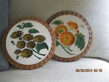 "Set of 2  Vintage  Plaster / Chalkware 9""  Flower Plaques,  2-D"