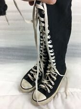 Converse All Star Black Chuck Taylor KNEE HIGH Men 5 Women 7 Zipper Lace Up Boot