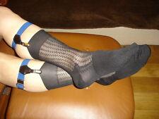 2 P Chaussettes nylon transparent socks sheer noir V05 T-41/44 plante renforcées