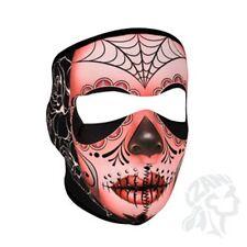 Muerte Sugar Skull Roses Spider Web Neoprene Full Face Mask ATV Biker Paintball