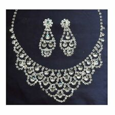 SWAROVSKI CRYSTAL RHINESTONE WEDDING NECKLACE EARRINGS