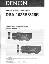 Denon DRA-825R DRA-1025R Reciever Owners Manual