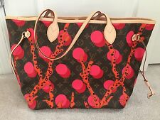 NEW Louis Vuitton NEVERFULL MM Bag Monogram RAMAGE Red Pink Coral AUTHENTIC
