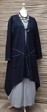 LAGENLOOK*NESLAY*WOOL MIX AMAZING BEAUTIFUL QUIRKY LONG JACKET*DARK NAVY* L-XL