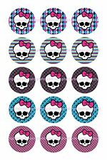 "MONSTER HIGH SKULLS  BOTTLE CAP IMAGES 15 1"" CIRCLES  CUPCAKE TOP BOWS"