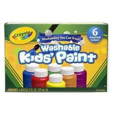 Crayola 6 Mixed Kids Washable Paints Blue/Red/Green/Yellow/Orange & Purple -1204