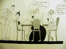 Anne Fish Cartoon EVE PLAYING CARDS w AUNTS PARTNERS 1918 Art Deco Print  Matted