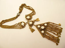 Outstanding Vintage Vendome Egyptian Revival Ornate Bib Necklace