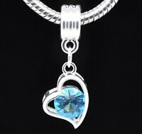 Silver Blue Stone Heart Dangle Charms Bead For Charm Bracelets