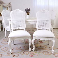 Shabby Cottage Chic Set Of Four Cane Dining Chairs French Vintage Style White