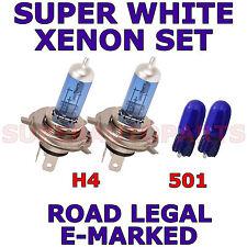 FITS PEUGEOT 405 1988-1996 H4 501 XENON SUPER WHITE LIGHT BULBS