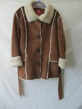 FADED GLORY 2X 18W 20W Jacket COAT BROWN PLUS Faux Suede & FUR