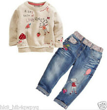 2Pcs Toddler Kids baby Girls Outfits Long Sleeve tops +Denim pants Clothes Set