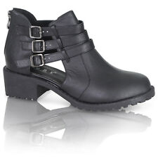 WOMENS LADIES CUT OUT BUCKLE LADIES FLAT WINTER CHELSEA ANKLE BOOTS SHOES