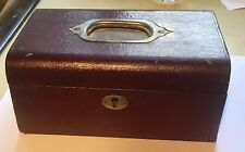 VINTAGE JEWELLERY BOX VICTORIAN EDWARDIAN LEATHER LADIES-GENTS POCKET WATCH BOX