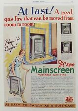 OLD ADVERT MAINSCREEN PORTABLE GAS FIRE MAIN Ltd DECO c1931