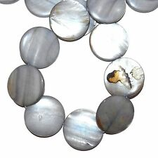 MPX1593L 10-Strands Silver-Gray Mother of Pearl 30mm Flat Round Shell Beads