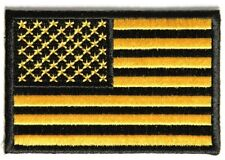 "(B25) BLACK & GOLD AMERICAN FLAG 3"" x 2"" iron on patch (3449) Biker"