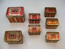 7 Vintage Swee-Touch-Nee Tea Tins Various Sizes, 4 English, 3 Russian