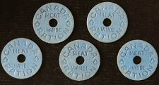 CANADIAN WWII MEAT RATION TOKENS - Lot of 5