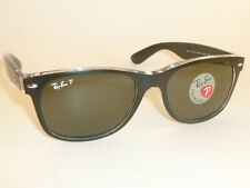 RAY BAN New WAYFARER Black On Transparent  RB 2132 6052/58  Polarized Green 52mm