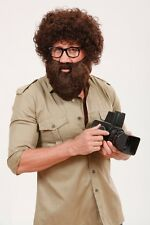 Large Adults Brown Explorer Safari Beard with Moustache Fancy Dress Accessory