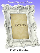 "Ornate Distressed Antique White 7x5"" (Resin) Photo Frame (Isabella 5-279-57)"