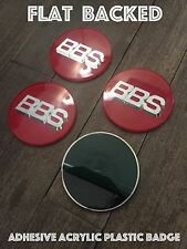 4 x BBS RS Style Acrylic Plastic Sticker 70mm 69mm Centre Caps Red / Silver