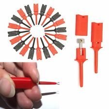 20Pcs Grabbers Probes IC Hook Test Clip Cable Welding 50MM Red Black
