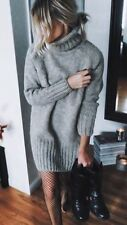 ZARA Aw16 Knit Mink Roll Neck  Maxi Dress Size M Uk 10 Bloggers Fav