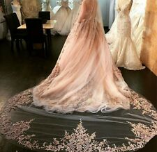 114v Bridal 3m Cathedral Length Embroidered Lace Edge Champagne Wedding Veil