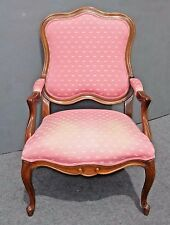 Vintage  ETHAN ALLEN French Country Carved Pink ACCENT CHAIR Dragonfly Print