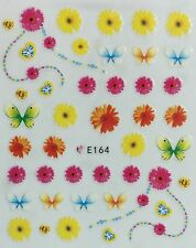 Nail Art 3D Decal Stickers Flowers & Butterflies E164